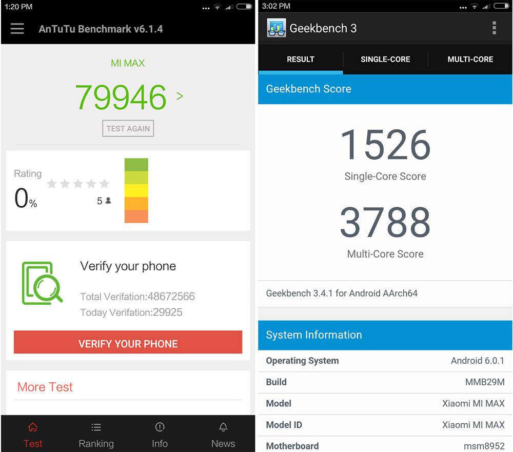 AnTuTu и GeekBench на Xiaomi Mi Max