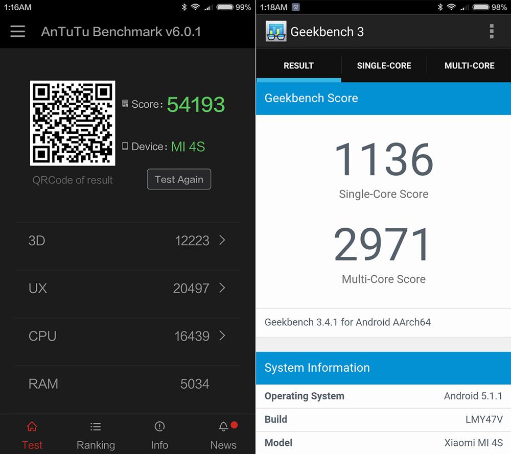 Обзор Xiaomi Mi 4S - результаты тестирования бенчмарков