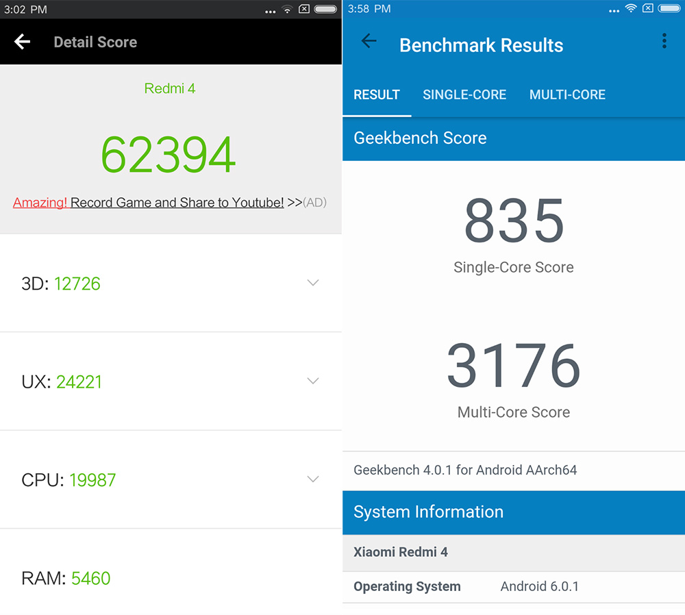 Обзор Xiaomi Redmi 4 - тесты производительности