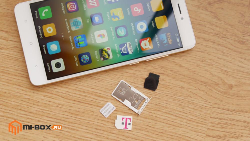 Обзор Xiaomi Redmi Note 4x - слот для сим-карт и карты памяти