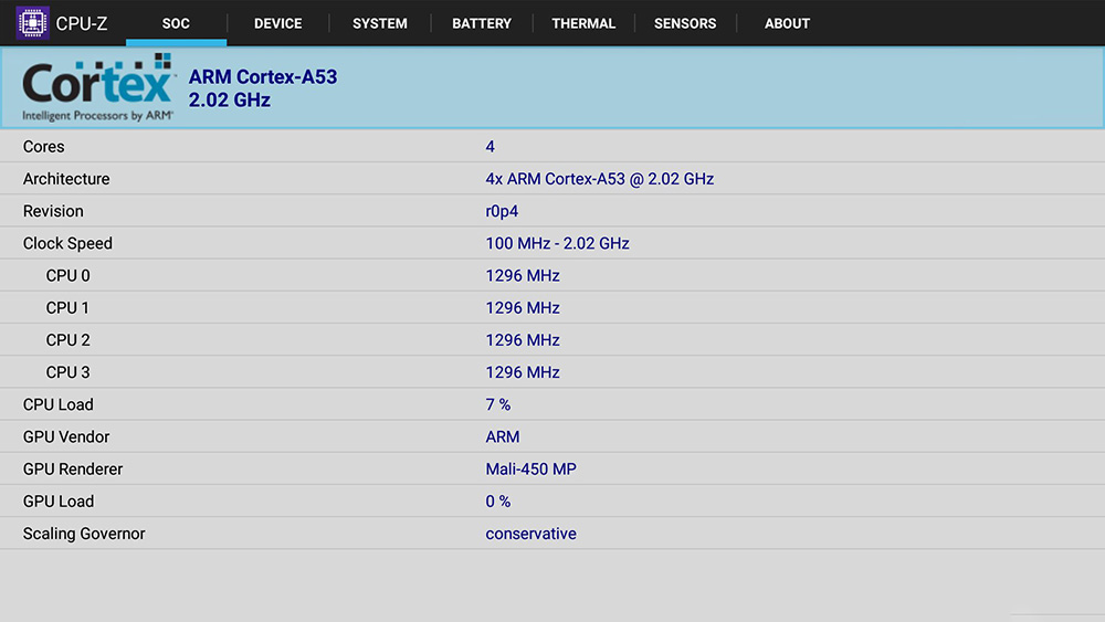Обзор Xiaomi Mi Box 3 - технические характеристики CPU-Z