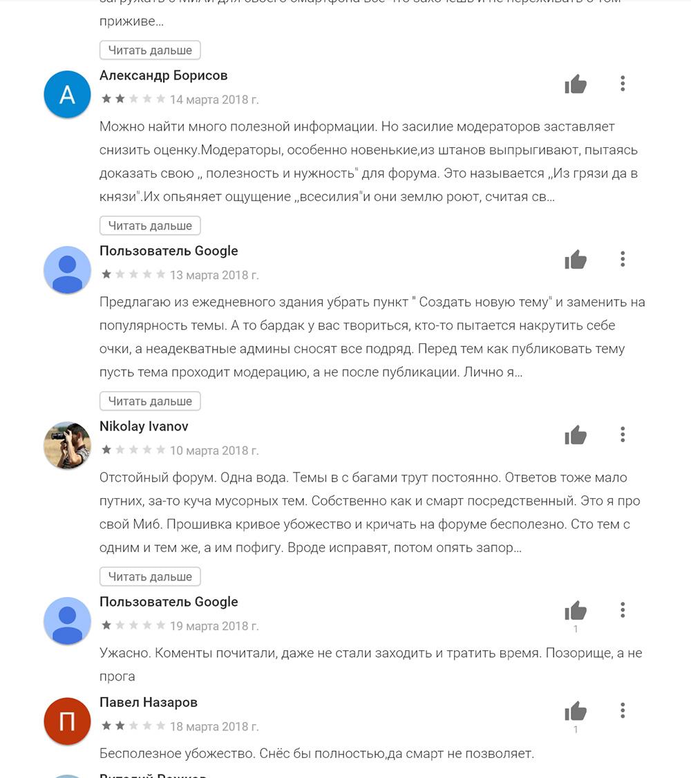 Отзывы о Mi Community