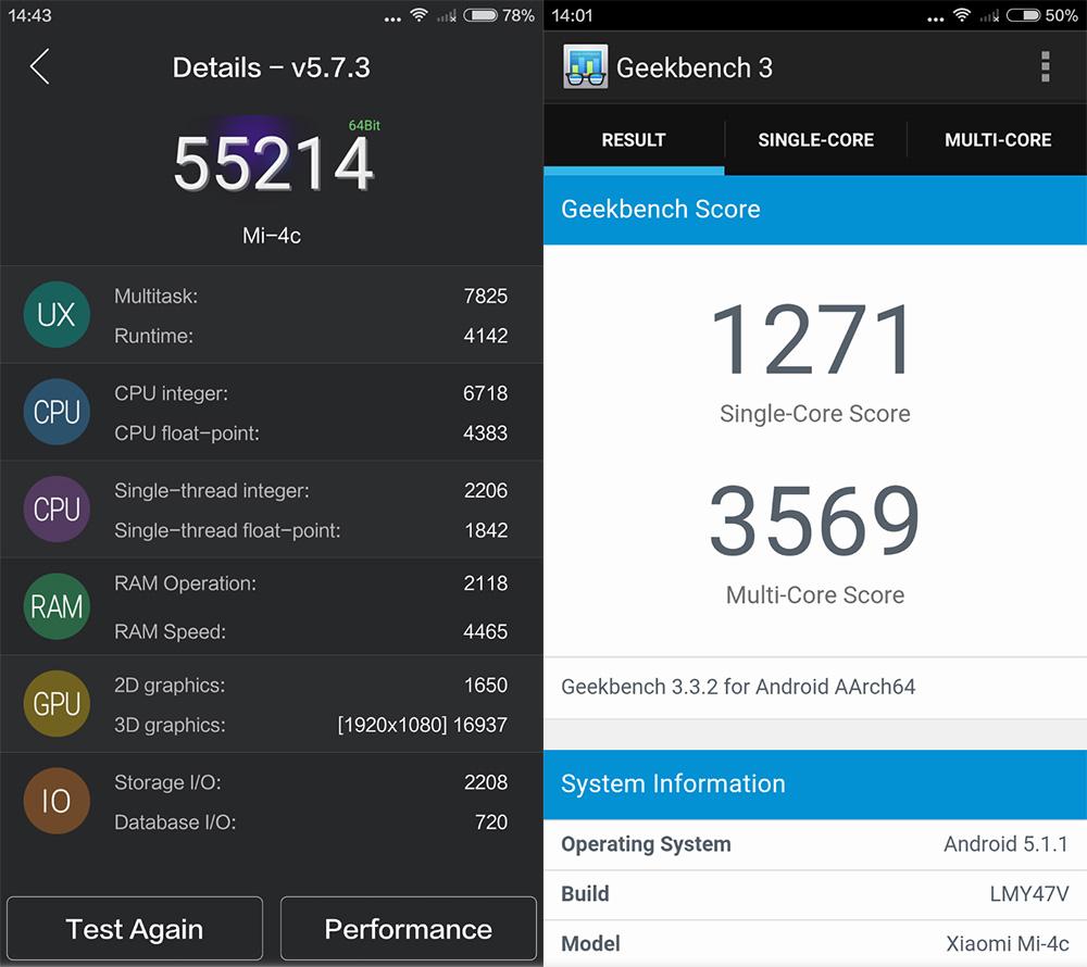 Обзор Xiaomi Mi 4c - результаты тестов AnTuTu и Geekbench