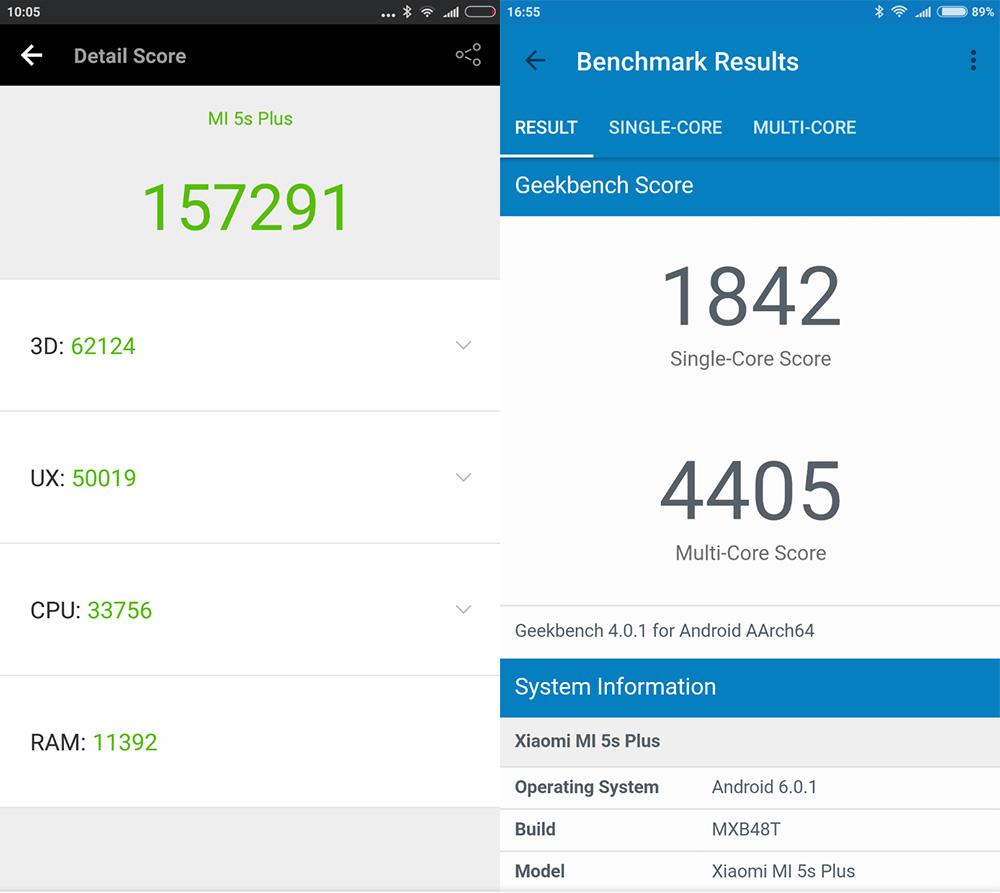 Обзор Xiaomi Mi 5s Plus - тест AnTuTu