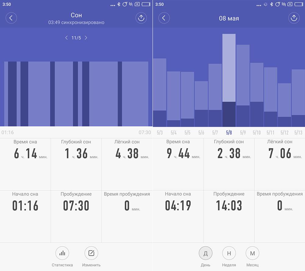 Mi Fit - отслеживание сна с помощью MI Band 2
