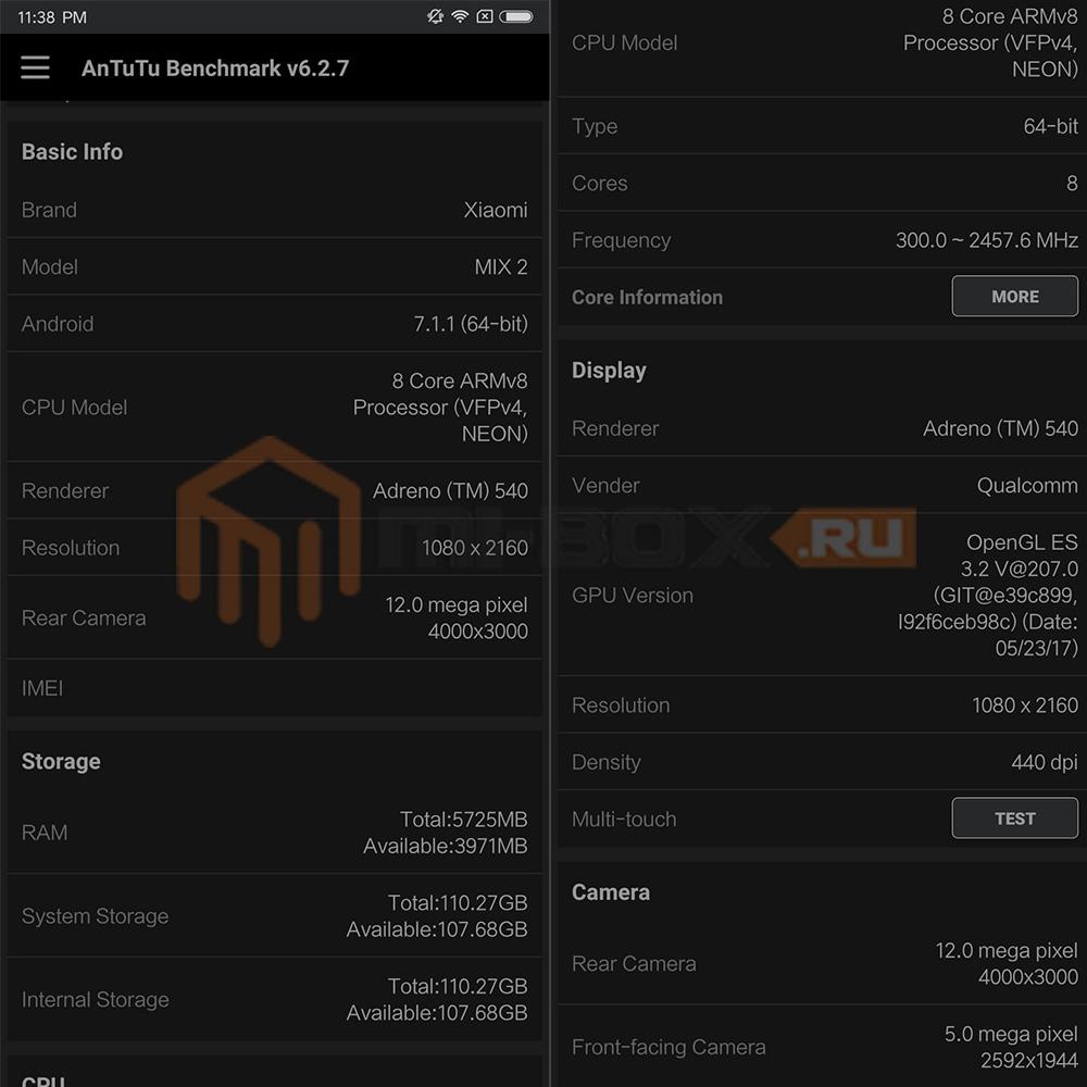 Обзор Xiaomi Mi Mix 2 - технические характеристики AnTuTu