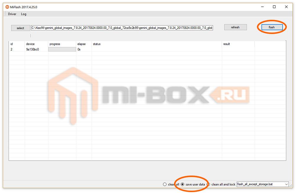 Прошивка через Flashboot приложением MiFlash - кнопка Flash