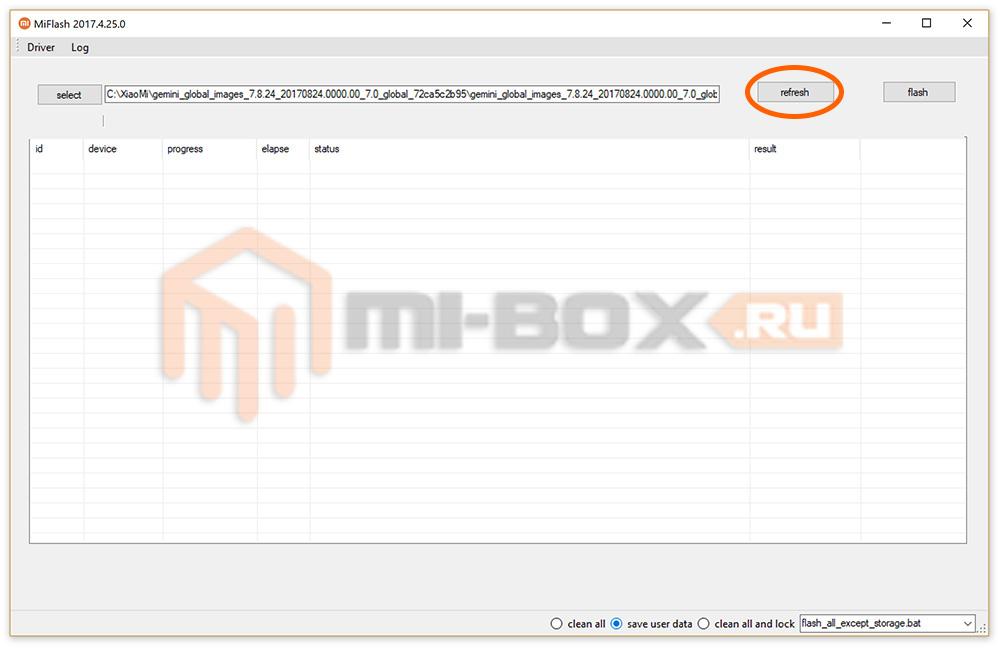 Прошивка через Flashboot приложением MiFlash - кнопка Refresh