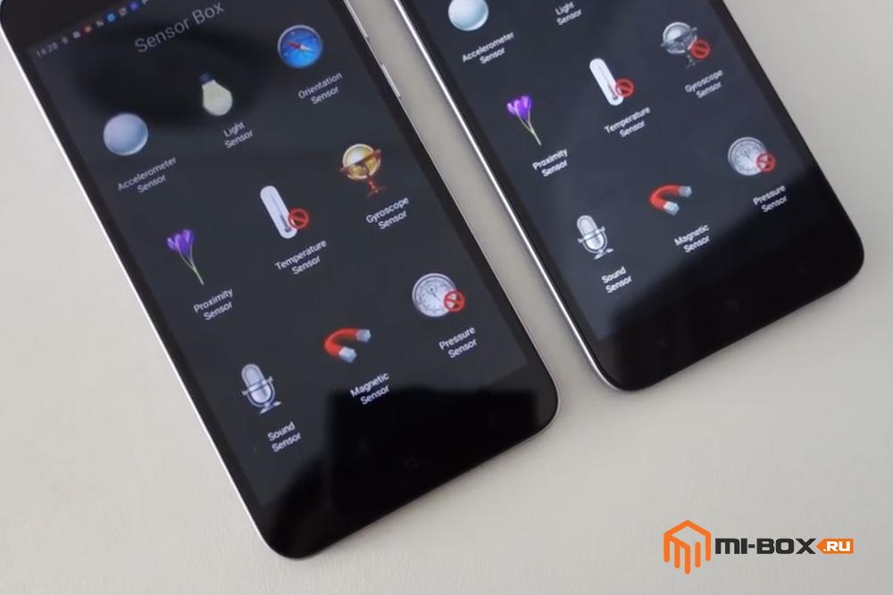 Что выбрать - Xiaomi Redmi 5a или Redmi Note 5a - датчики